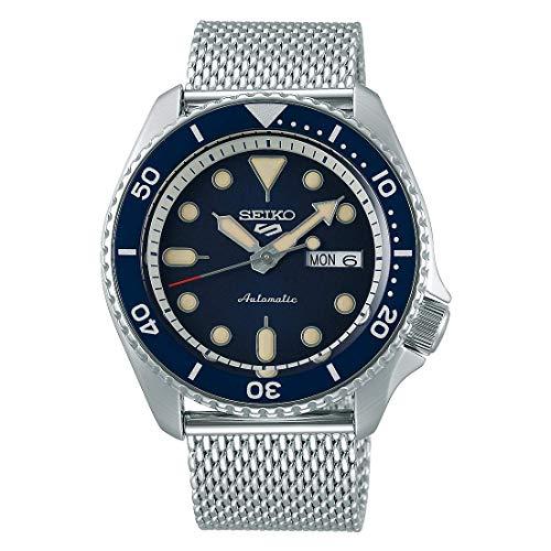 Orologio Seiko 5 Sports automatico quadrante blu e cinturino in rete, SRPD71K1