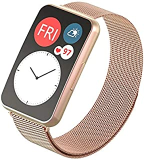 Dado Replacement Milanese Band compatible with Huawei Fit Watch, stainless steel strap (Rose Gold)