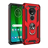 Rebex Moto G7 Case Cover,Moto G7+ Plus Case,Tough Heavy Protective 360 Metal Rotating Ring Kickstand Holder Grip Built-in Magnetic Metal Plate Armor Heavy Duty Shockproof(Red)