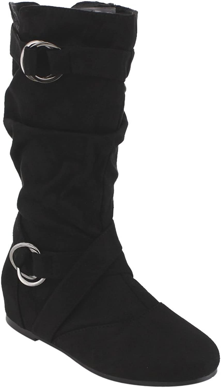 Forever Kayden-84 Women's Cut Out Side Zipper Strap Buckle Flat Heel Slouchy Boots