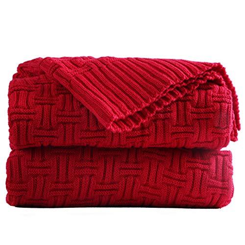 Shaddock Manta Sofa Manta Tejida 100% Algodón, 130 * 180 cm, Manta de Ganchillo Súper Suave y Acogedora Adecuada para Bebé, Uso Múltiple para la Cama, Oficina de Viaje, Camping (Rojo)