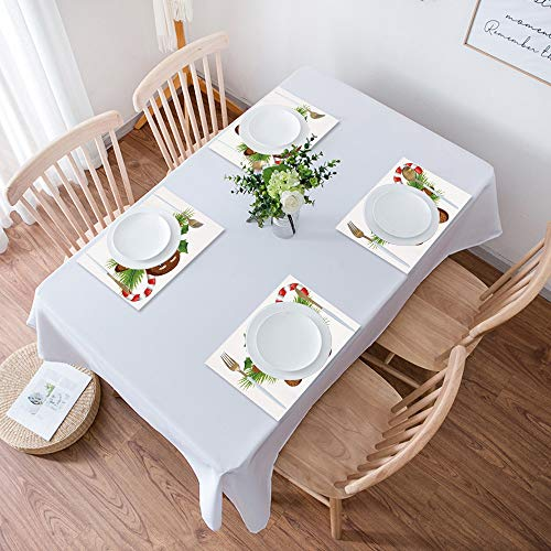 Table Placemats,Set of 4 Placemats,Gingerbread Man,Cute Tasty Pastry on Coniferous Branches Candy Cane Holly Be,Heat Resistant Heat Insulation Non-slip Washable Dinner Mats for Kitchen and Dining Room