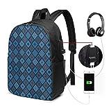 Schulrucksack-Taschen mit USB-Ladeanschluss und Kopfhörerbuchse, Patchwork-inspiriertes Blumenbild mit ethnischen Quadraten, 17 Zoll