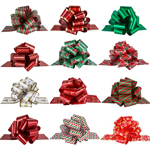 "PintreeLand 12PCS Wrap Pull Bows with Ribbon 5"" Wide Wrapping Accessory for Xmas Present, Gift, Florist, Bouquet, Basket Decoration, Easy to Assemble"