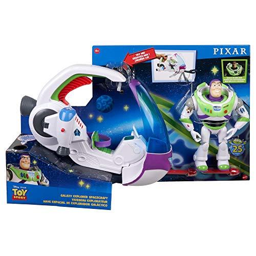 Disney Toy Story 4 Nave Exploradora Galáctica con Buzz Lightyear, nave espacial de juguete con figura de acción (GWY61)
