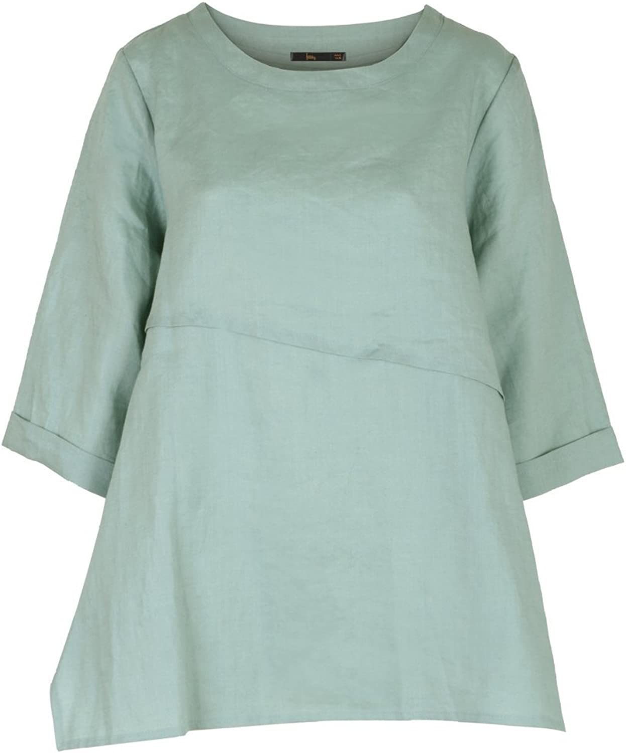 Ililily Side Slit Detail 3 4 Sleeves Linen Long TShirts Loose Fit Summer Tunic