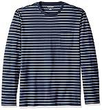 Amazon Essentials Men's Regular-Fit Long-Sleeve Pocket T-Shirt, Navy/Light Grey Heather Stripe, Small