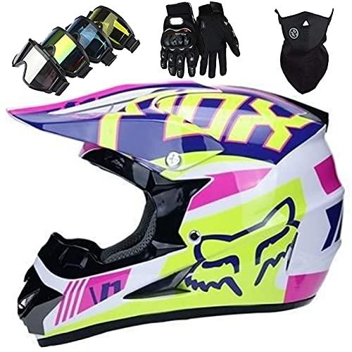 Juegos Cascos Motocross, Casco de Moto para Niños con Guantes/Gafas/Máscaras (4 piezas), Casco de Moto para Quad Racing Karting BMX ATV MX Casco de Moto - con Diseño FOX - Blanco Rosa