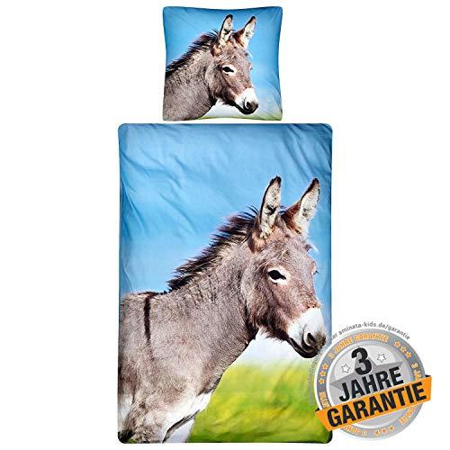 Aminata Kids süße Bettwäsche Esel-Motiv 135 x 200 cm + 80 x 80 cm aus Baumwolle mit Reißverschluss, unsere Kinderbettwäsche mit Pferde-Motiv ist weich und kuschelig, grau, bunt