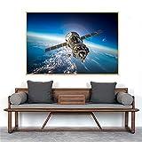 NIMCG Cartel planetario de la Galaxia Astronauta e Imprimir Imagen de la Pared del meteorito de la Tierra cósmica para la decoración de la Sala de Estar (sin Marco) 60x80 cm