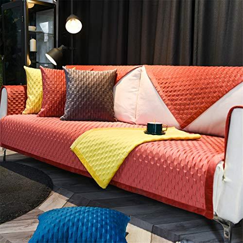 Cubierta de sofá antideslizante de felpa, funda de sofá multi-tamaño, protector de muebles de sala de estar acolchado transpirable, cubierta de sofá suave de superficie de franela,Rosado,70 * 90cm