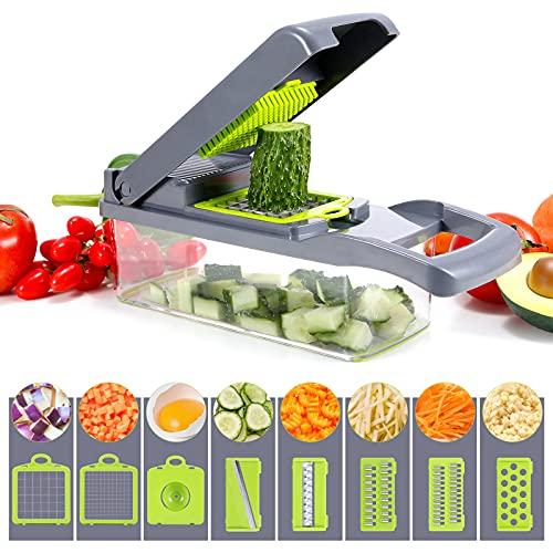 Picadora de verduras, picadora de verduras multifuncional, con 6 cuchillas de acero inoxidable, cortador de verduras 12 en 1 con contenedor, cortador de mandolina para cocina, ideal para frutas, verduras y ensaladas (color gris)