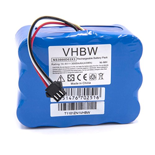 vhbw NiMH Akku 3000mAh (14.4V) passend für Saugroboter Home Cleaner Heimroboter H.Koenig SWR22