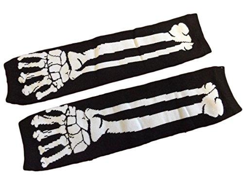 Poizen Industries - Gants longs sans doigts motif squelette psychobilly Emo accessoire déguisement - Noir - Blanc, -