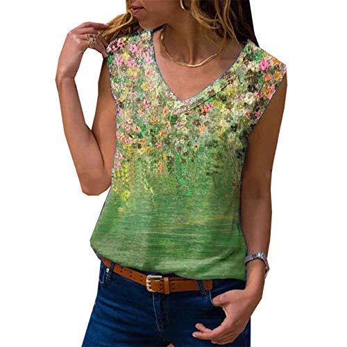 Camiseta Estampada con Cuello en V y Cuello en V de Verano para Mujer, Camiseta Estampada para Mujer