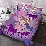 BlessLiving Horse Comforter Cover Horse Bed Set Twin Horse Bedding for Girls Cute Horse Duvet Cover Purple Sparkle Stars Bedspreads for Kids Teens Boys (1 Duvet Cover and 2 Pillowcases)