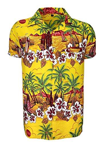 Camisa hawaiana para hombre, estampada, para la playa, fiestas de verano y vacaciones, tallas desde S hasta XXL multicolor amarillo Talla única