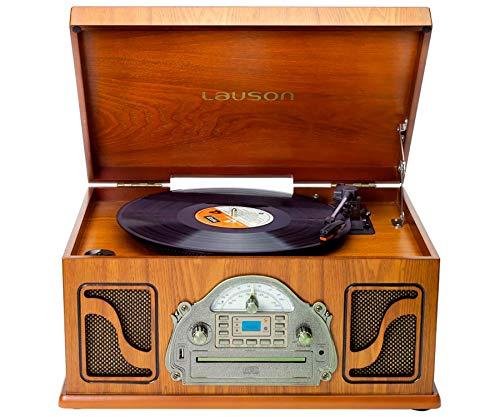 Lauson IVX22 Tocadiscos Clásico FR Madera CD Radio Grabación Digital MP3 Bluetooth...
