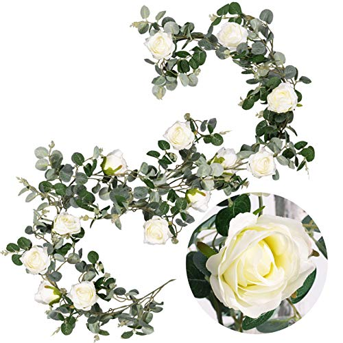 Whaline Artificial Dollar Eucalyptus Garland with White Roses 5ft Faux Eucalyptus Leaves Vine Hanging Greenery Garland for Wedding Indoor Outdoor Backdrop Wall Decor Home Kitchen Fireplace