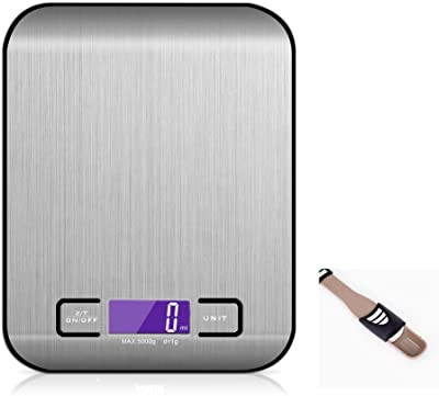 Digital Kitchen Scale Multifunction Waterproof Food Scale with Measuring spoon High Accuracy Jewelry Scale with LCD Display 1g 0.04oz to 11lb 5kg Stainless Steel By Fly Joys