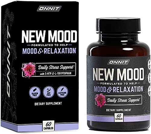 ONNIT New Mood - Daily Stress, Mood, Sleep & Serotonin Supplement - Chamomile, Magnesium, L-Tryptophan, 5 htp, Valerian - A Real Chill Pill (60ct)