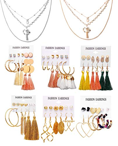 Necklace and Earring Jewelry Set with 36 Pairs Tassel Ball Dangle Hoop Stud Earrings and 2 PCS Layered Necklaces for Women Jewelry Fashion and Valentine Birthday Party Gift,38 Pairs (BK6007)