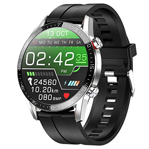 Smartwatch,Fitness Watch Uhr Voller Touch Screen Fitness Uhr IP68 Wasserdicht Fitness Tracker Sportuhr mit Schrittzähler Pulsuhren Stoppuhr für Damen Herren Smart Watch iOS Android Handy(silber)