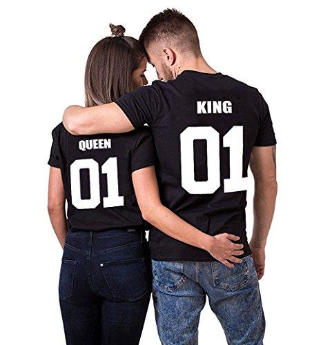 King Queen Couple Shirt T-Shirt 100% Coton Tees Shirts pour Roi Reine Imprimé 01 Manches Courtes Anniversaire...