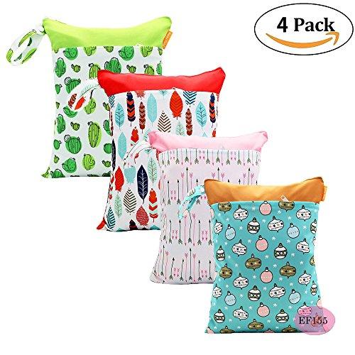 '4 poches Pack Baby sec et humide serviette couche étanche réutilisable avec deux poches à fermeture éclair, 11 X 14 , 4 Pack, Motif 1, 4