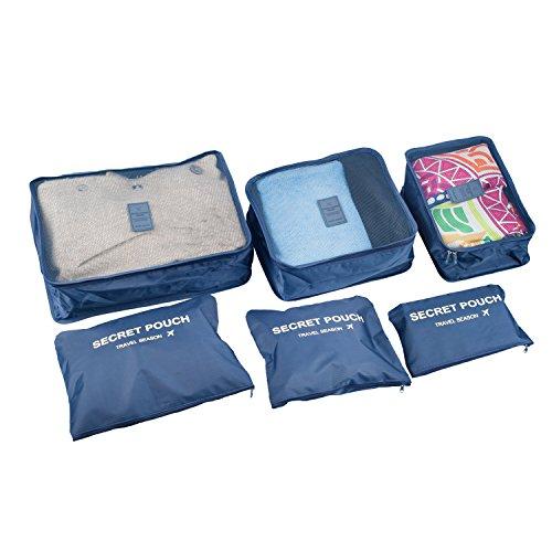 6pcs/set impermeabile vestiti Storage Bags imballaggio Cube valigia da viaggio borsa Organizer blu Navy