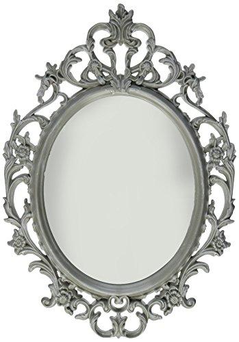 Kole Ornate Grey Oval Bathroom Mirror