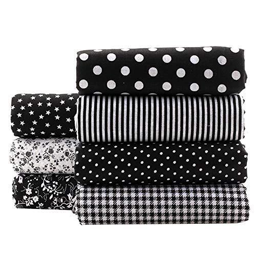 Shuanshuo Black Series Floral Cotton Fabric Textile Quilting Patchwork Fabric Fat Quarter Bundles Fabric for Scrapbooking Cloth Sewing DIY Crafts Pillows 50X50cm 7pcs/lot