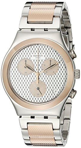 Swatch Damen Chronograph Quarz Uhr mit Edelstahl Armband YCS581G