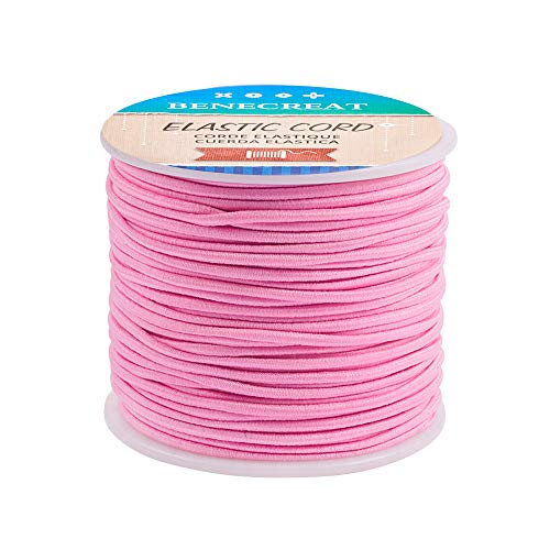 BENECREAT 2mm 55 Yards Elastic Cord Beading Stretch Thread Fabric Crafting Cord for Jewelry Craft Making (PearlPink)