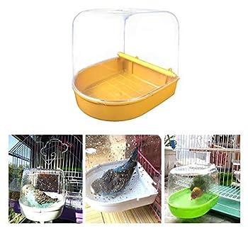 arthomer Baignoire Perroquet Oiseau Baignoire pour Oiseaux Maison de Bain Semi-Circulaire avec Toit 16 x 14 x 15cm pour Canari Perruches et Perroquets