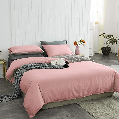 Lanqinglv Bettwäsche Set 135 x 200 cm 2 Teilig Rosa Grau Wendebettwäsche Weiche Mikrofaser Uni Bettbezug mit Reißverschluss und Kissenbezüge 80 x 80cm