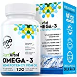 New! Omega 3 Fish Oil Capsules [Triple Strength] No Fish Flavor. 100% Pure Norwegian Deep Water Molecularly Distilled Cold Pressed Fish Oil for Cognitive, Joint, Eye, Hair & Heart Health. (1 Bottle)