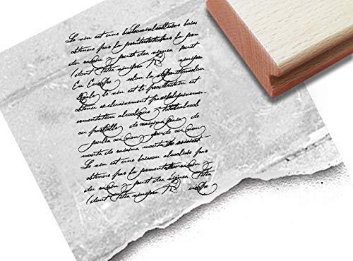 Stempel XL Textstempel Vintage Écriture IV mit alter Handschrift - Schriftstempel Scrapbook Artjournal Kunst Retro Shabby chic Deko - zAcheR-fineT