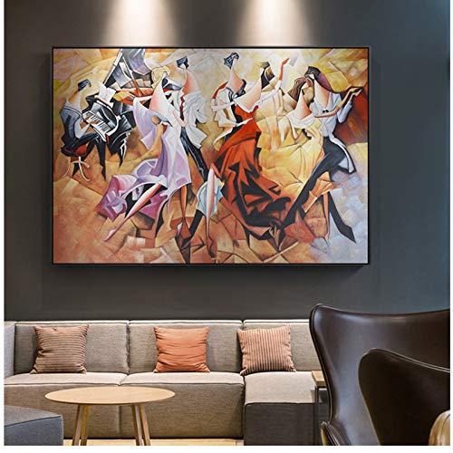 Abstrakte Dame Party Karneval Klavier Leinwand Malerei Mittelalter Poster Für Wohnzimmer Gang Wohnkultur Wandkunst 60x80 cm Kein Rahmen