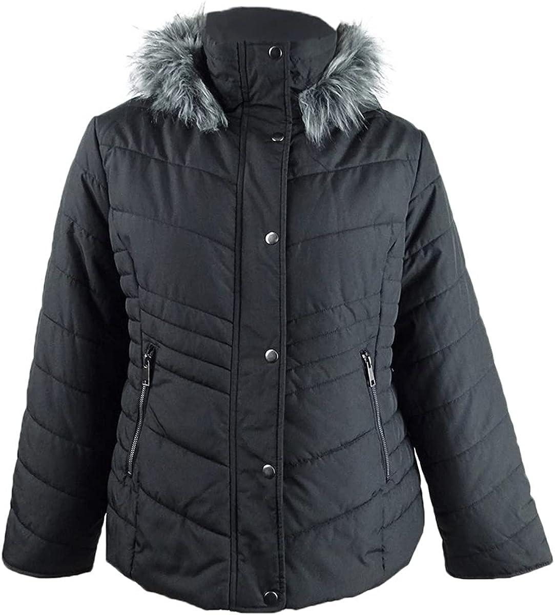 Maralyn & Me Juniors' Hooded Faux-Fur-Trim Puffer Coat (XXL, Black)