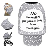 Car Seat Covers for Babies, Nursing Breastfeeding Cover Infant Carseat Canopy, Soft Stretchy Carrier Cover for Newborn, Multiuse for Stroller High Chair Shopping Cart with No Touching Sign