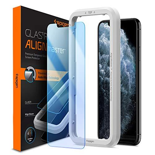 Spigen AlignMaster Panzerglas kompatibel mit iPhone 11 Pro, iPhone XS, iPhone X, Anti Blau Licht, Kratzfest, 9H Härte Schutzfolie