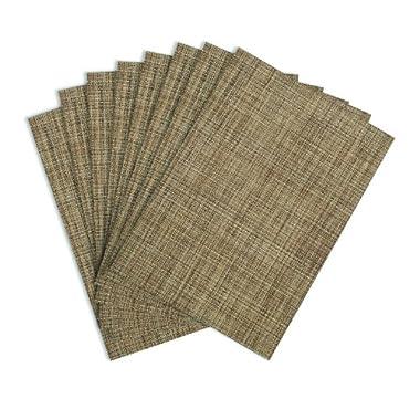 Benson Mills Tweed Woven Vinyl Placemats, Natural, Set of 8