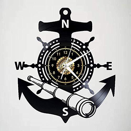 WJUNM Reloj de Pared de diseño Moderno de 12 Pulgadas con Tema de brújula náutica, decoración del hogar silenciosa Retro, decoración de Pared de habitación, Reloj de Pared de Vinilo, coleccionables