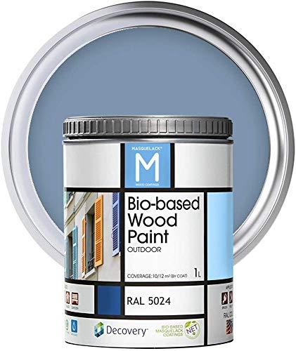 Pintura Para Madera Exterior   Color Azul   1 Litro   RAL 5024   Pintura Para Madera   Pintura Ecológica Para Todo Tipo De Madera   Pintura Madera Exterior Con Un Aspecto De Acabado Semi Mate