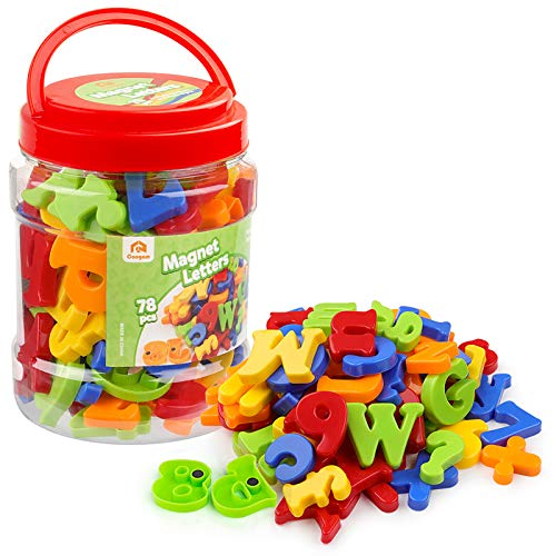 Coogam Mayúsculas Minúscula Magnéticos Letras y Números para Niños Símbolos Matematicos A-Z Alfabeto Imanes de Refrigerador El Mejor Juguete (78 Unidades)