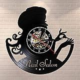 GVC Beauty Nail Salon Vinyl Record Reloj de Pared Manicure Retro Wall Watch Idea de Regalo para manicurista Beauty Salon Nail Bar Art Wall Sign