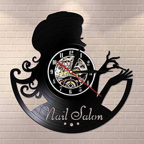 wtnhz LED-Salón de uñas Reloj de Pared con Disco de Vinilo Manicura Reloj de Pared Retro Manicurista Ideas de Regalo Salón de Belleza Bar de uñas Arte Signo de Pared