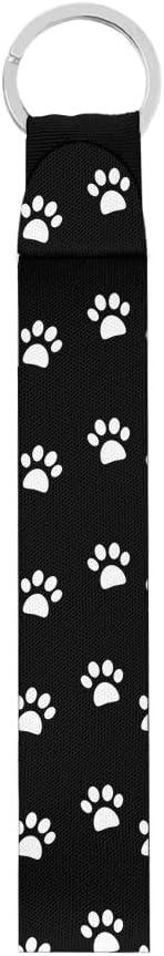 GLENLCWE Puppy Paw Print Car Wristlet Lanyard and Neoprene Keychain,Dog Lovers,Women Girls Lovely Stlye,Comfortable Durable