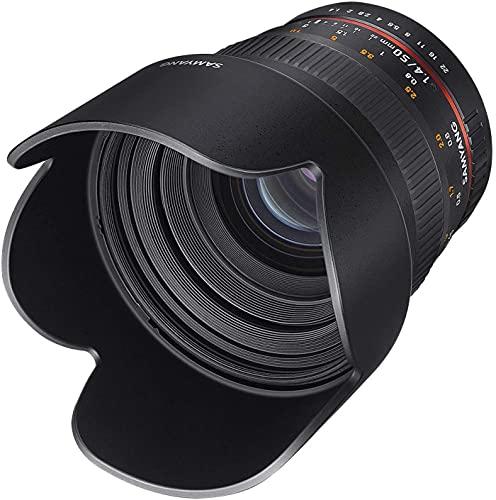 Samyang F1111101101 - Objetivo fotográfico DSLR para Canon EF (Distancia Focal Fija 50mm, Apertura f/1.4-22 AS UMC, diámetro Filtro: 77mm), Negro